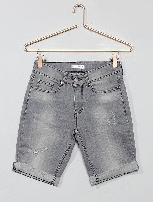Bermuda regular en jean destroy                             gris Garçon adolescent