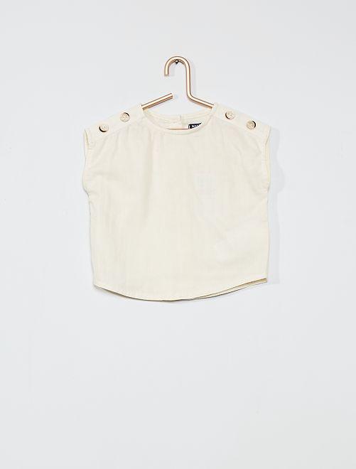 Blouse 100% coton sans manches                             blanc