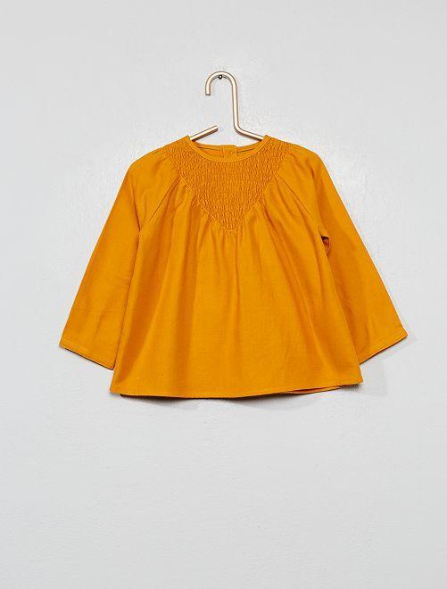 Blouse à smocks en flanelle                     jaune moutarde