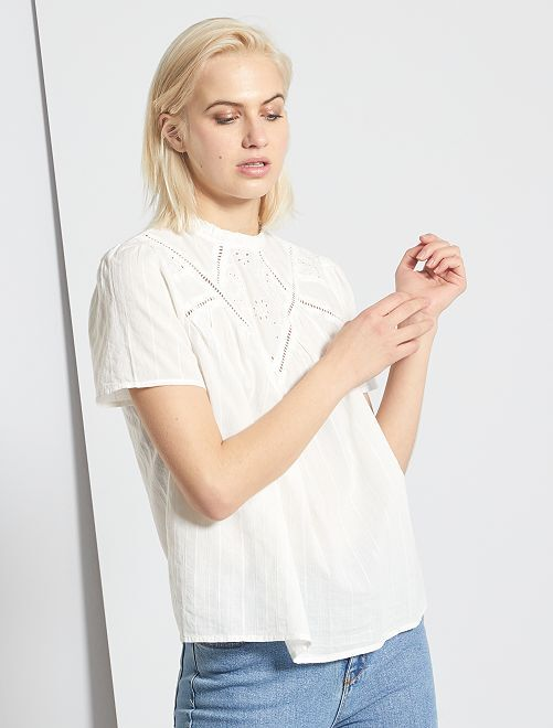 Blouse avec broderie anglaise                                         blanc