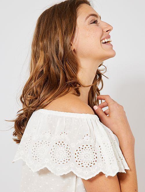 Blouse bardot brodée                                                     blanc Femme