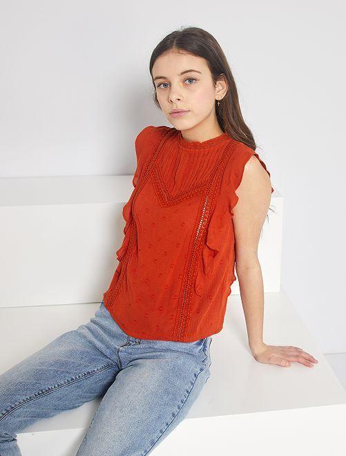 Blouse brodée à plis                                         orange