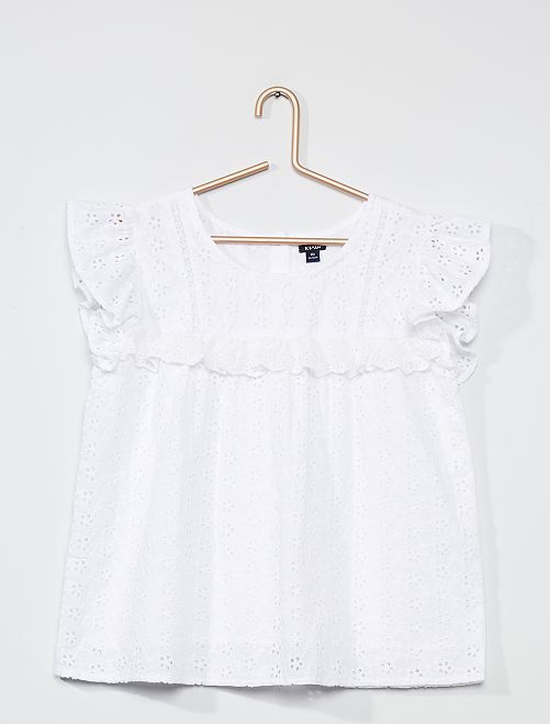 Blouse broderie anglaise                     blanc