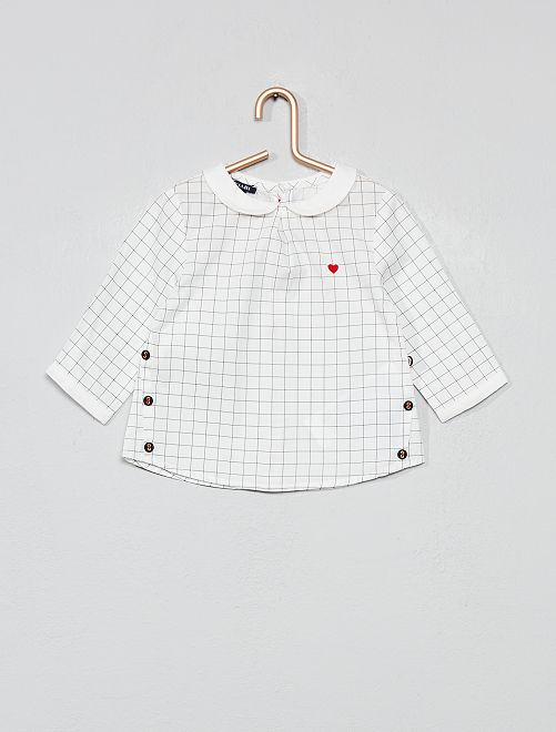 Blouse claudine à carreaux                             blanc