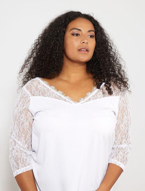 Blouse col V avec dentelle                                             blanc Grande taille femme