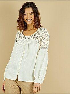 Top, blouse taille m - Blouse coton gaufré et dentelle - Kiabi