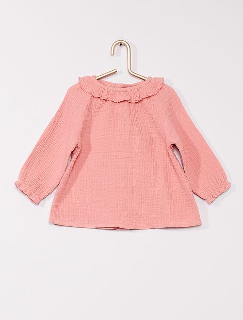 Blouse éco-conçue en gaufré                             rose