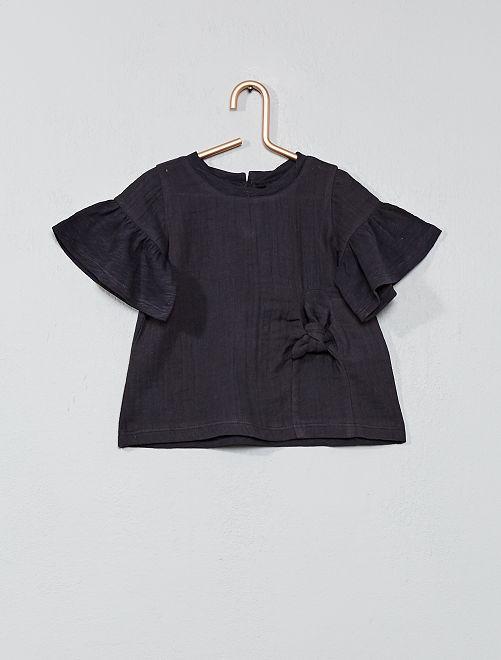 Blouse en gaze de coton et jersey                                         anthracite Bébé fille