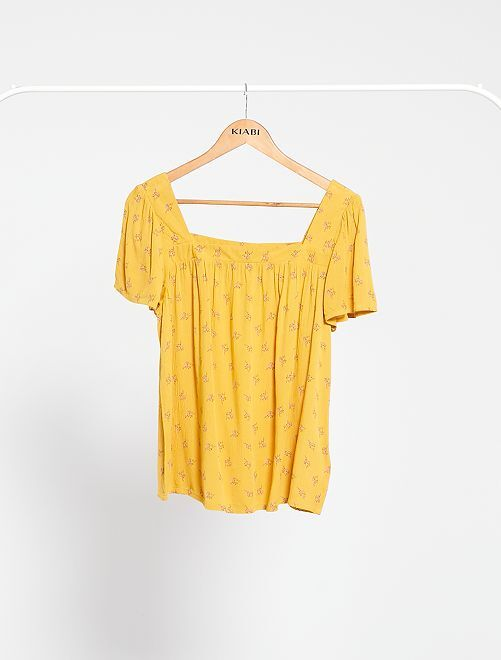 Blouse encolure carrée                                                                 jaune moutarde