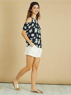 Top, blouse - Blouse fleurie épaules dénudées - Kiabi