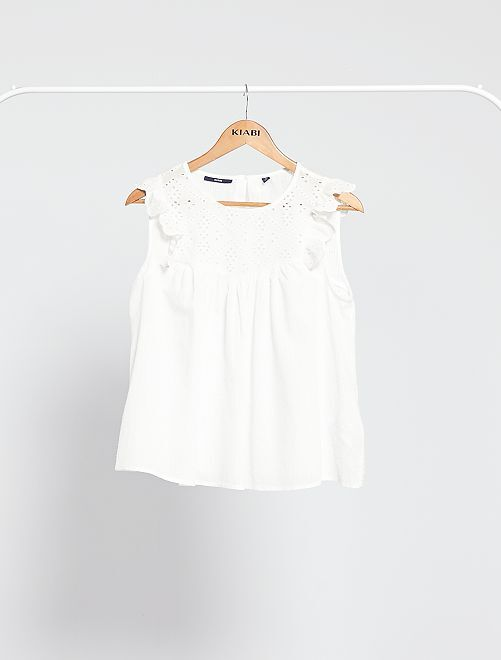 Blouse fluide à broderie anglaise                             blanc