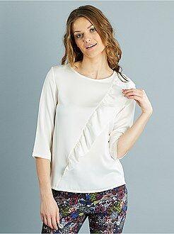 Top, blouse blanc - Blouse fluide à volants asymétriques - Kiabi