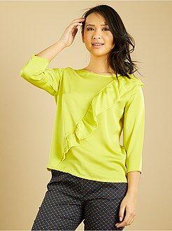 Top, blouse vert - Blouse fluide à volants asymétriques