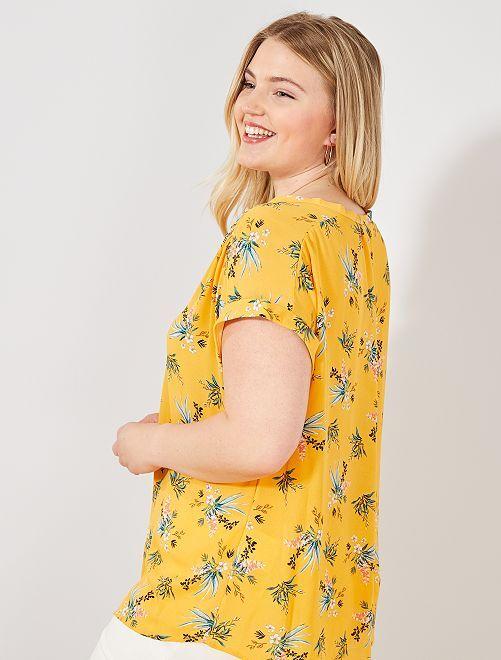 Blouse fluide boutonnée                                                                                                                                                     jaune fleurs Grande taille femme
