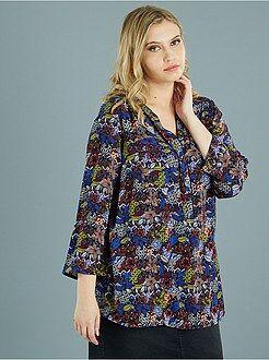 Top, blouse - Blouse fluide col mao et poches poitrine