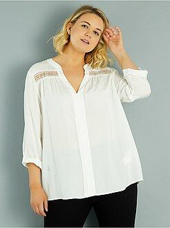 Top, blouse taille 54/56 - Blouse fluide détails macramé