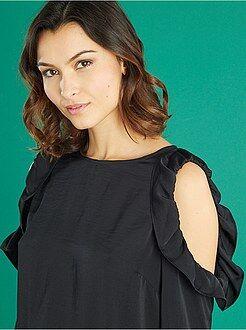 Top, blouse - Blouse fluide épaules ajourées et volants - Kiabi