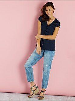 Top, blouse - Blouse fluide manches courtes