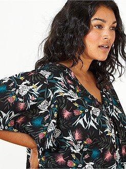 Top, blouse noir - Blouse imprimée à volants - Kiabi