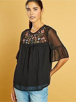 Top, blouse taille s - Blouse plumetis et broderies