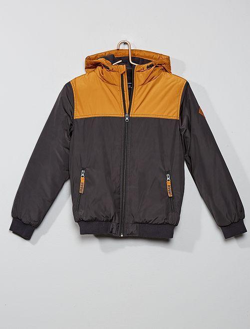 Blouson chaud bicolore                                         gris/marron
