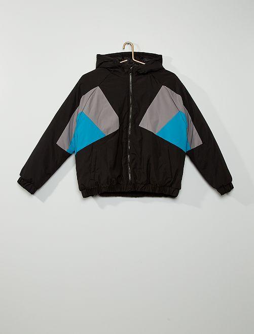 Blouson color block                                         noir/gris/bleu