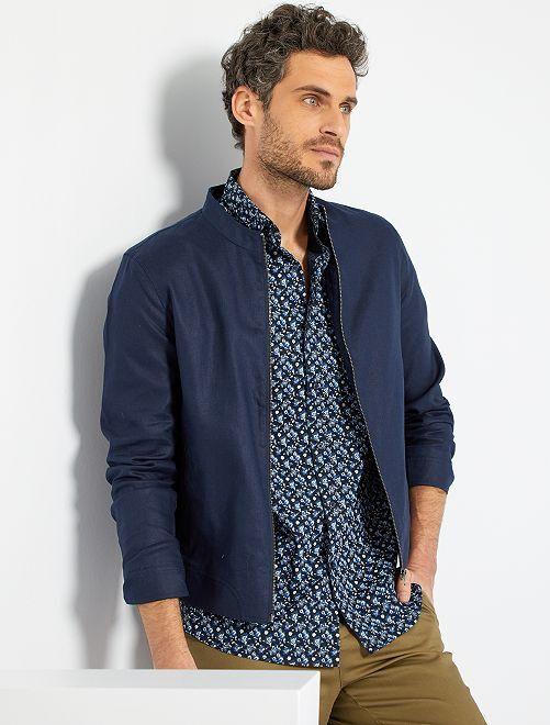 Blouson léger lin et coton                             bleu marine