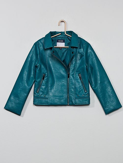 Blouson motard 'Rock'n roll Princess Life'                                                                 vert