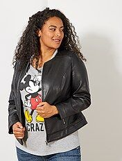 Veste cuir, blouson simili cuir Grande taille femme | Kiabi