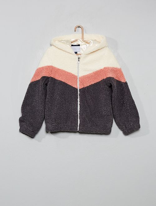 Blouson sherpa color-block                                         gris/rose