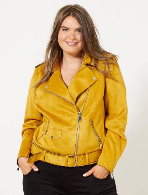 Blouson style biker en suédine jaune Grande taille femme