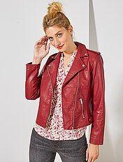 Veste imitation cuir rouge pour femme