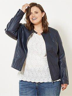 Blouson imitation cuir femme grande taille