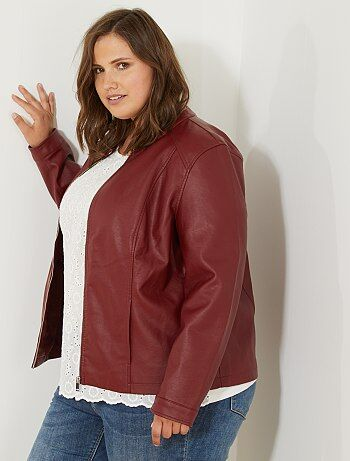 Talla Jacket de mujer Simili para Chaqueta Big Nywwrcyqh Aqa1ww Kiabi cuero rshQdCBtx