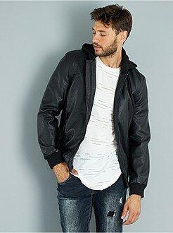 Homme du S au XXL Blouson zippé en simili capuche jersey