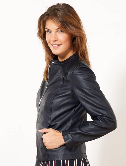 9d38314d4a Blouson zippé en simili Femme - noir - Kiabi - 8,00€
