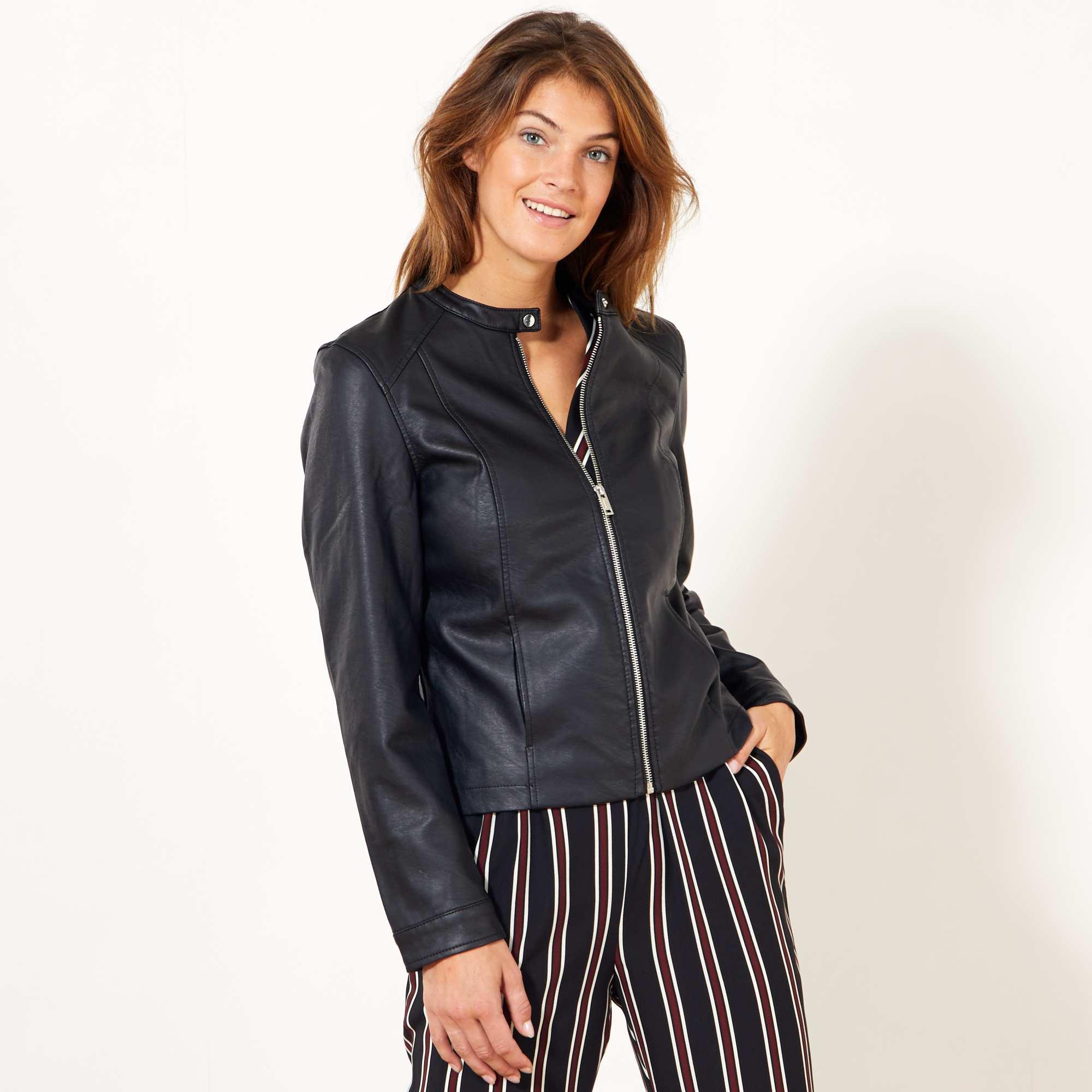 Veste simili cuir marron pour femme