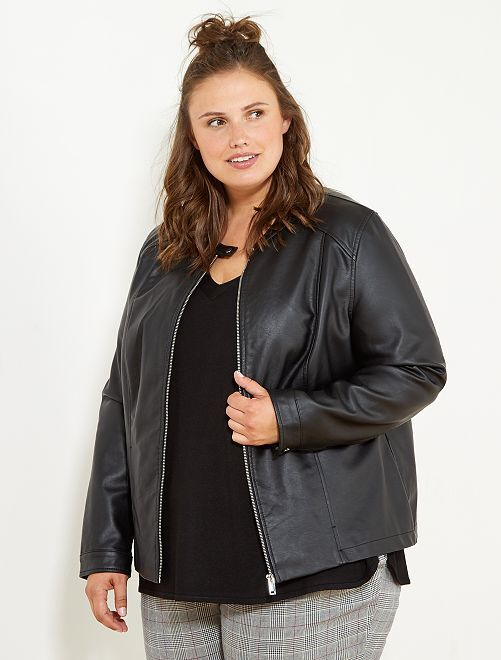 blouson zipp en simili grande taille femme noir kiabi 30 00. Black Bedroom Furniture Sets. Home Design Ideas