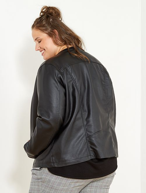 6270c95fee Blouson zippé en simili Grande taille femme - noir - Kiabi - 9,00€