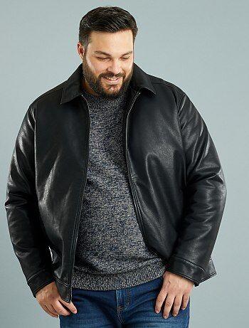 blouson zipp en simili grande taille homme noir kiabi 55 00. Black Bedroom Furniture Sets. Home Design Ideas
