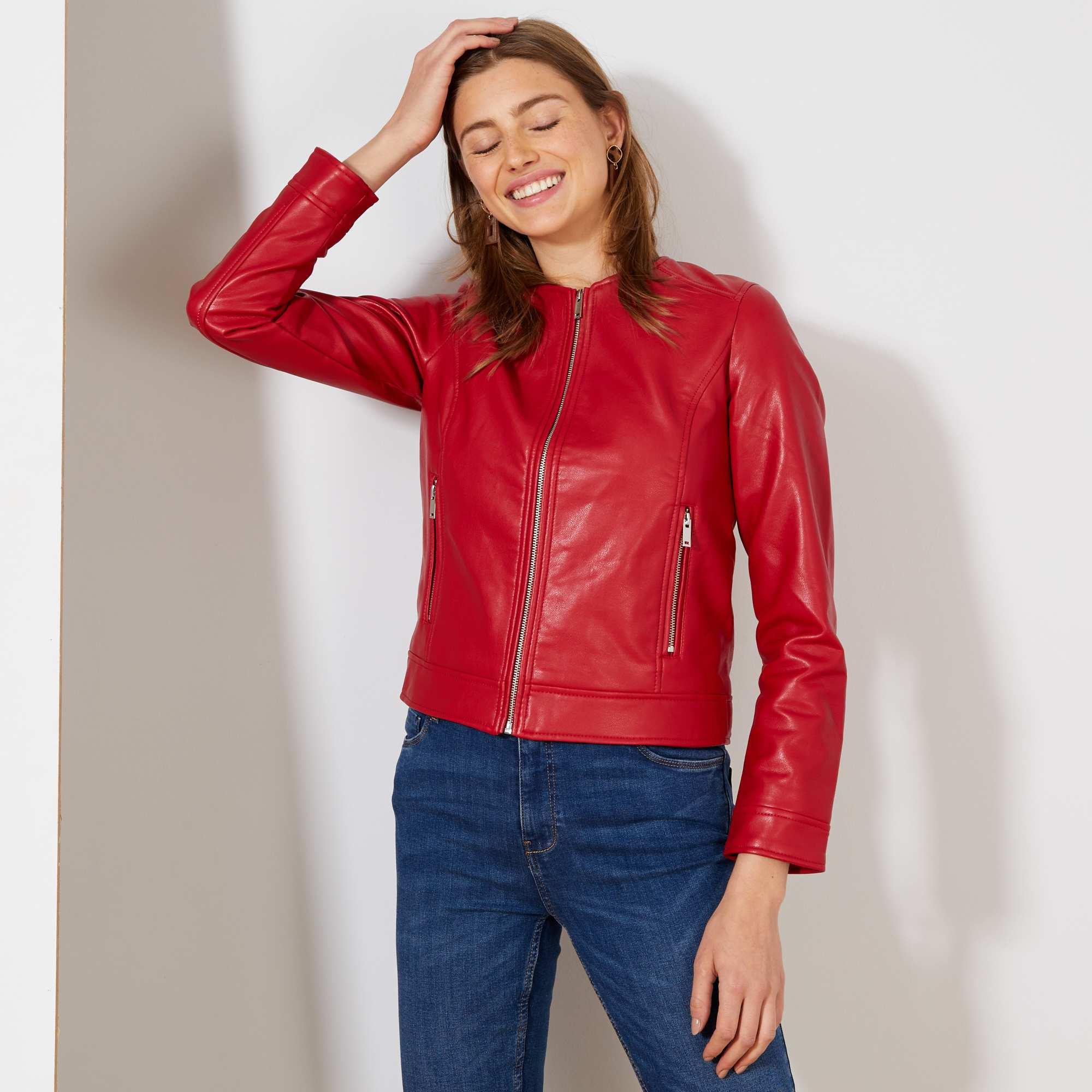 d3e7204be5 Blouson zippé en simili Femme - rouge - Kiabi - 18,00€