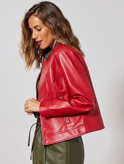 Blouson zippé en simili                                                     rouge Femme