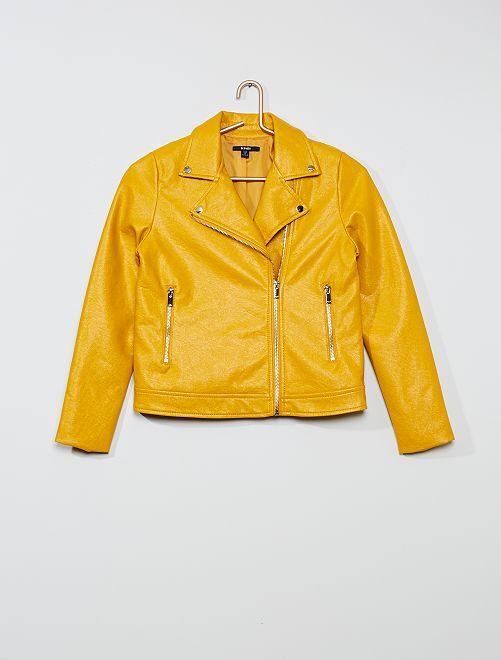 Blouson zippé style motard                                                     jaune