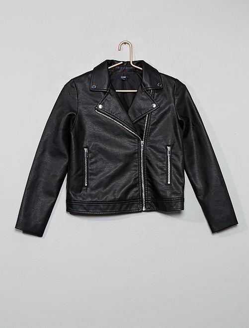 Blouson zippé style motard                                                     noir