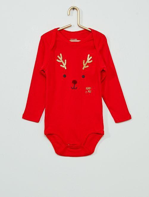 Body de Noël éco-conçu                             rouge