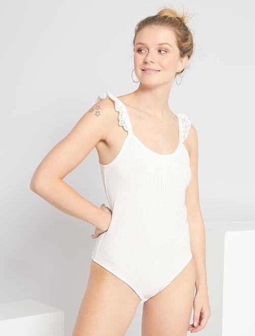 Body détail broderie anglaise                                         blanc