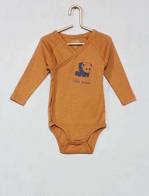 Body 'Eco-conception' col croisé                                                                 marron panda