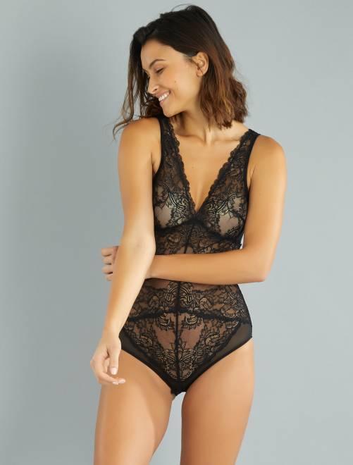 body en dentelle lingerie du s au xxl noir kiabi 18 00. Black Bedroom Furniture Sets. Home Design Ideas