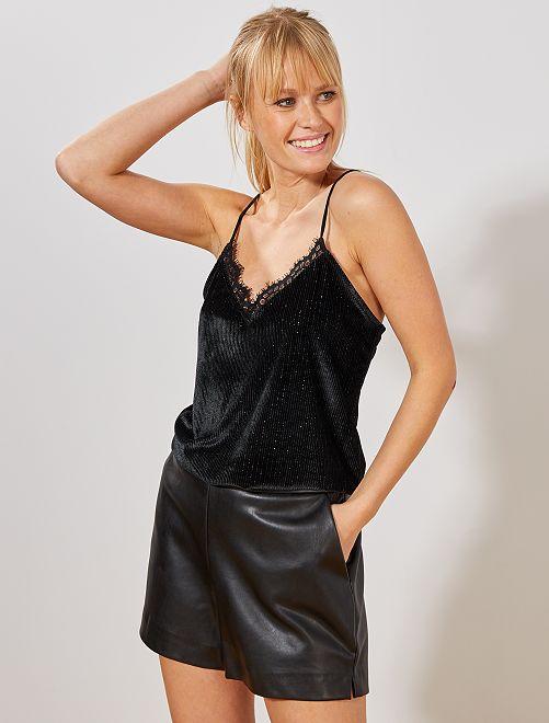 Body esprit lingerie en velours brillant                             noir