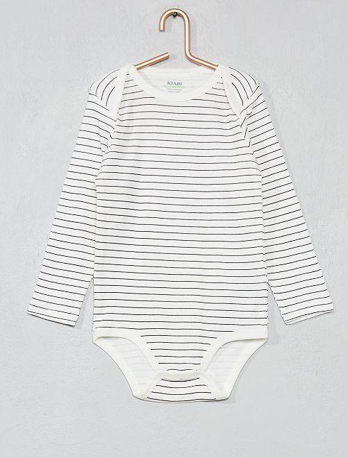 Body imprimé coton bio                                                                             écru/rayé Bébé garçon